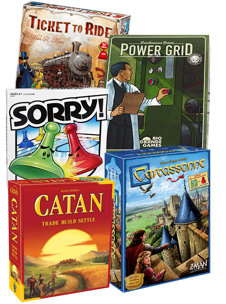Ticket to Ride, Sorry, Catan, Power Grid, and Carcassonne board games
