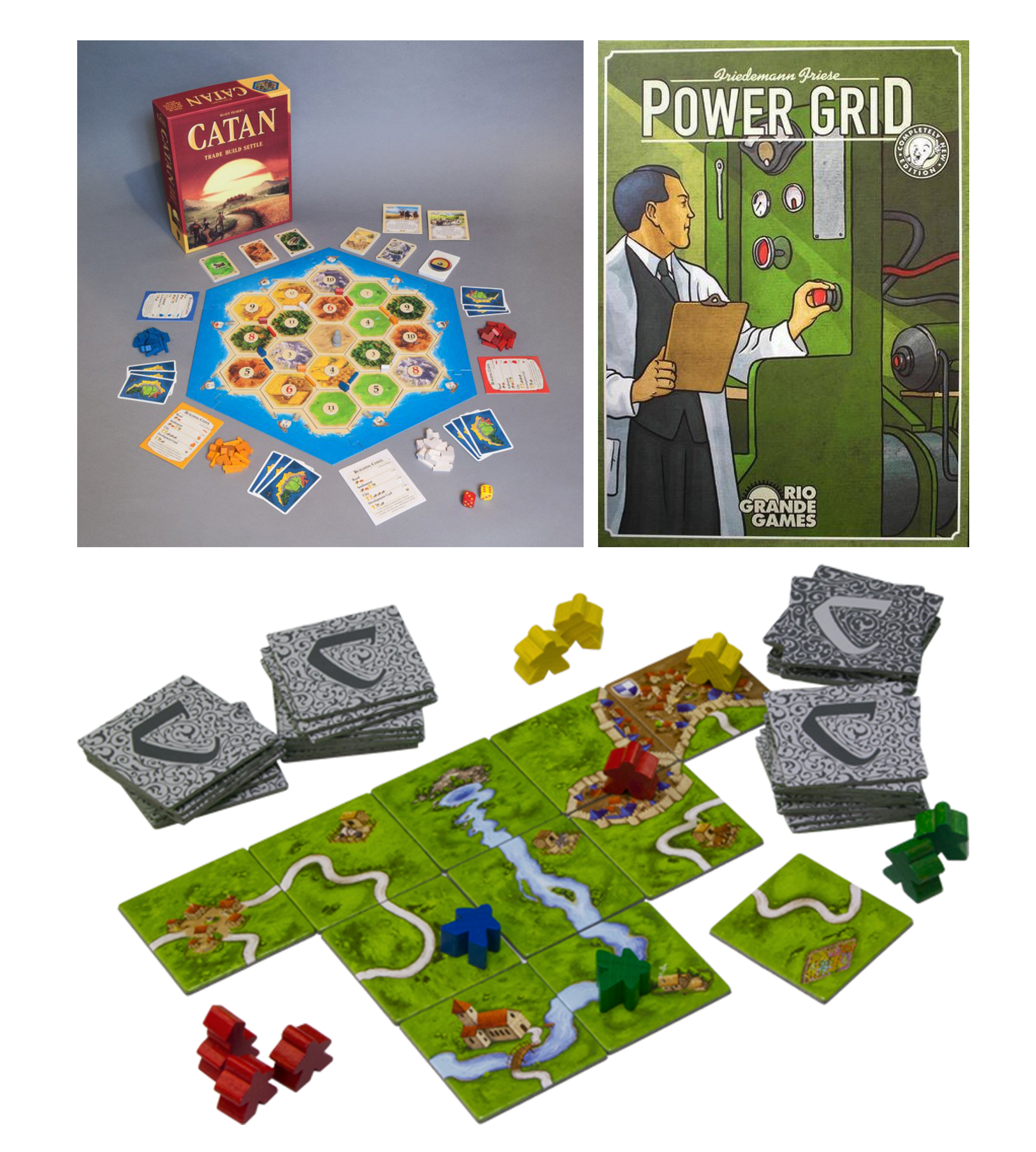 Catan, Carcassonne and Power Grid board games